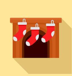 Xmas socks on fireplace icon flat style vector