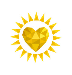 yellow bright sun icon in heart shape from vector image