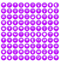 100 agriculture icons set purple vector