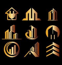 building ico set gold logo vector image