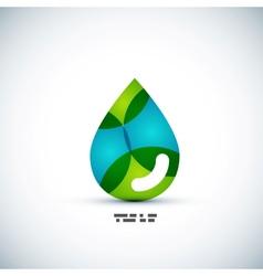 Green eco water drop concept vector image