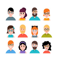 people avatars collection male and female vector image