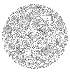 Set of Japan food cartoon doodle objects symbols vector image
