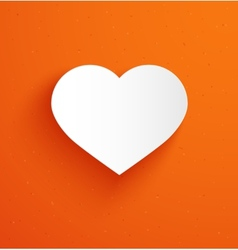 White paper heart on orange background vector image vector image