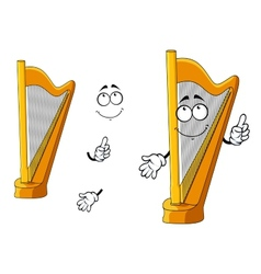 Classic wooden musical cartoon harp character vector image