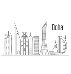 doha city skyline - downtown cityscape qatar vector image