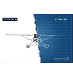 engineering blueprint of plane top view vector image vector image