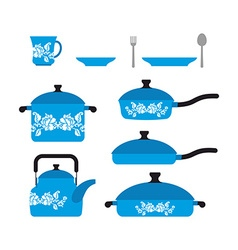 Set of dishes for cooking Cookware cup and saucer vector image vector image