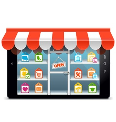 Tablet pc with supermarket concept vector