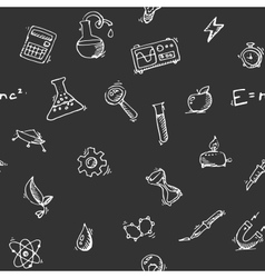 Seamless pattern Science icons doodles set vector image vector image