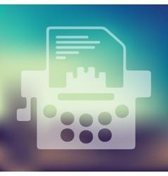 typewriter icon on blurred background vector image