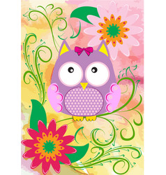 with owl and flowers vector image vector image
