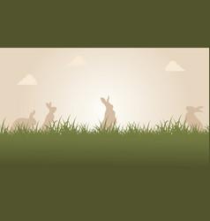 At sunset easter bunny landscape vector