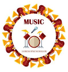 flat musical instrumets round banner design vector image vector image