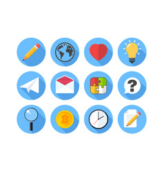 set of flat icon vector image vector image