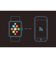 Smart watch and phone concept design with app icon vector