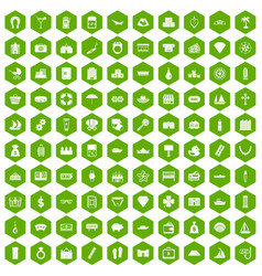 100 wealth icons hexagon green vector