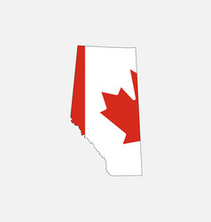Alberta map on canadian flag vector