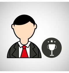 Avatar man with suit and trophy graphic vector