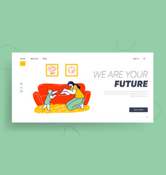 Baby making first step landing page template vector