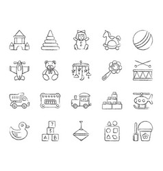 Baby toy charcoal draw line icons set vector