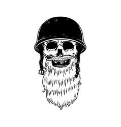 bearded skull in racer helmet design element vector image