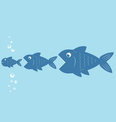 big fish eat little fish food chain design stock vector image