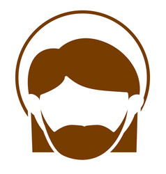 brown silhouette of faceless head of saint joseph vector image