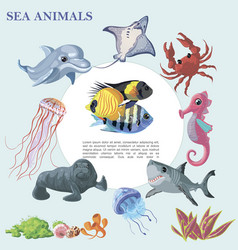 cartoon beautiful sea animals round concept vector image
