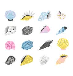 cartoon marine seashells vector image