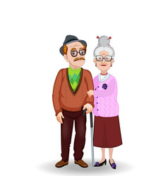 cartoon of grandma and grandpa holding hands vector image
