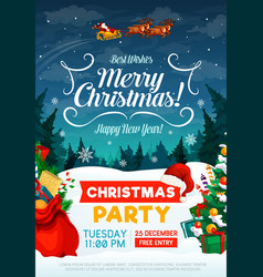 christmas holiday party invitation poster vector image