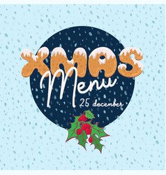 Christmas menu design in cartoon style with text vector