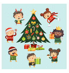 Christmas tree gathering vector