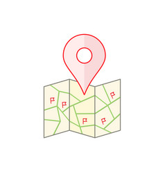 City map with flags and pinpoint vector