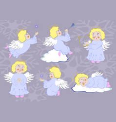 collection of funny angels for christmas eps10 vector image