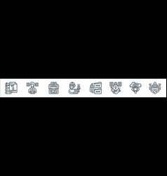 Confidential information line icons linear set vector