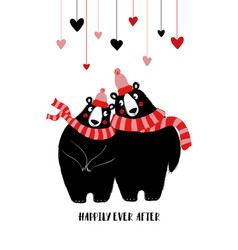 cople of cute bears in hats and scarfs vector image