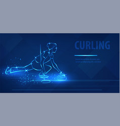 curling woman player hold ston neon banner vector image