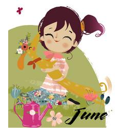 cute cartoon autumn girl vector image