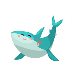 cute friendly shark cartoon character vector image