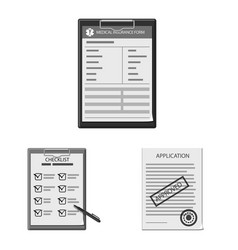 Design of form and document logo set of vector