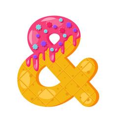 Donut cartoon ampersand symbol vector