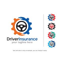 Driver insurance logo template vector