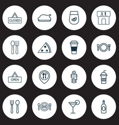 Eating icons set includes icons such as hooch vector