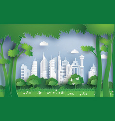 Environment with green city vector