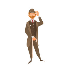 Flat english gentleman isolated vector