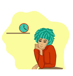 Flat image a girl is bored and looks at clo vector