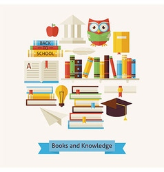 Flat Style Books Education and Knowledge Objects vector image