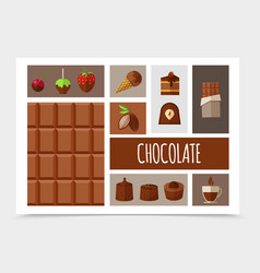Flat sweet products composition vector